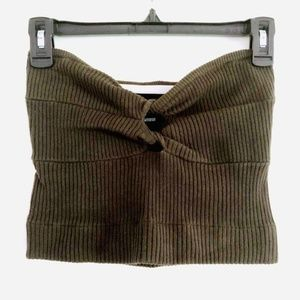 windsor Olive Double Twist Tibbed Knit Crop Top